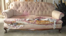 Antique 3 seater couch 'before' Upholstery