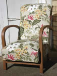 Completed chair with an unusual fabric bought by customer