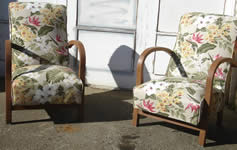 Completed chairs with an unusual fabric bought by customer